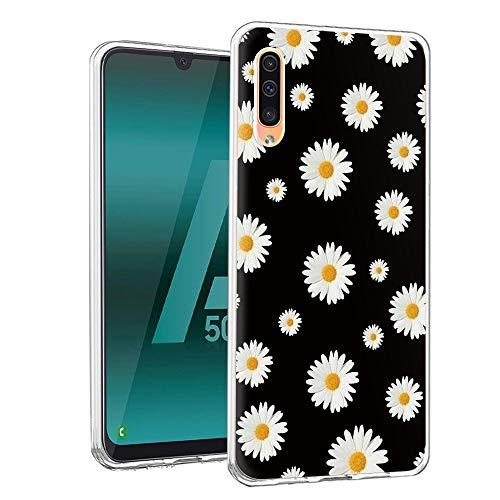 Pnakqil Funda Samsung Galaxy A50/ A30s/A50s, Silicona Transparente con Dibujos Diseño Slim TPU Antigolpes Ultrafina de Protector Piel Case Cover Cárcasa Fundas Movil SamsungGalaxyA50, Margarita Blanca
