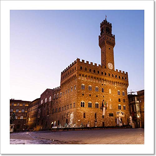 Barewalls The Palazzo Vecchio (Old Palace) A Massive Romanesque Fortress Palace, is The Town Hall of Florence, Italy Paper Print Wall Art (8in. x 8in.)