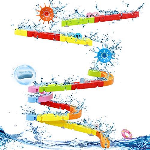 LBLA Agua Baño Juguete de baño Juego baño DIY Juego Pista para Niños Niñas 3 4 5 6 Años Juguetes Bañera 38 Piezas