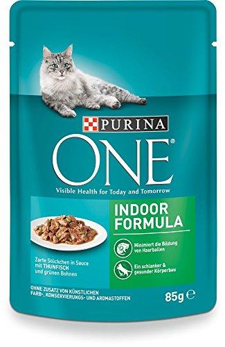 Purina One Indoor Kattenvoer, Vitaminen en Mineralen, voor Huiskatten, Gehydrateerd, 24 x 85 g Verpakking