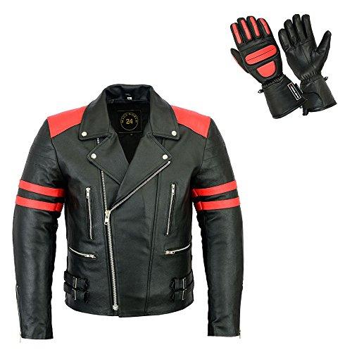 MAGS World24 Herren Leder Jacke Motorrad Jacke schwarz rot mit herausnehmbaren Protektoren Old School 80's Biker Jacke und passenden Leder Thermo Handschuhen