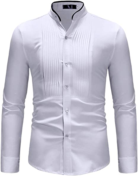 QitunC Hombre Camisa de Manga Larga Pecho Plisado Casual Slim ...