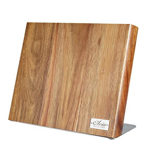 Oleio hochwertiger magnetischer Messerblock Messerbrett für bis zu 6 Messern I Zeitloses Design aus massivem Akazienholz mit starken Magneten und Edelstahlsockel ohne Messer