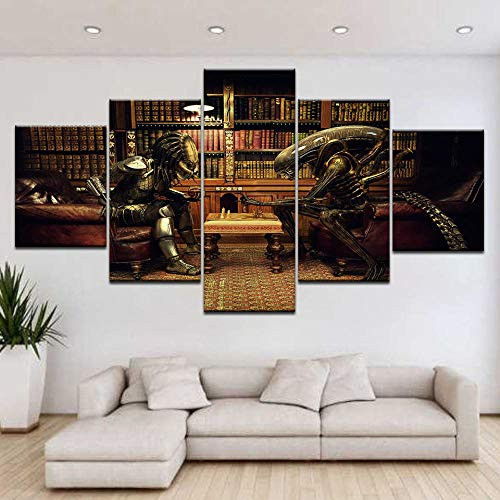 13Tdfc Cuadros Decoracion Salon Modernos 5 Piezas Lienzo Grandes XXL murales Pared hogar Pasillo Decor Arte Pared Abstracto Ajedrez Alien vs Predator HD Impresión Foto Innovador Regalo