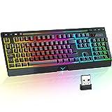 Teclado Inalámbrico RGB Retroiluminado de Sensación Mecánico, TopMate 2.4G Teclado Recargable con Luz LED Gaming Rainbow con Teclas Multimedia y Reposamuñecas, Teclado de Gamer para PC/Laptop/Windows