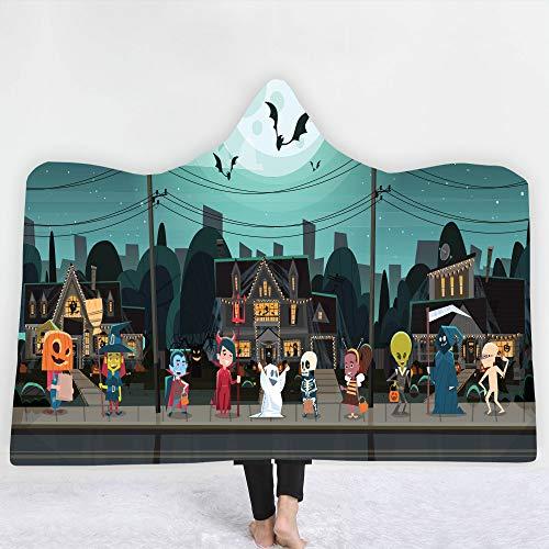 Manta con capucha para el hogar, manta doble para niños Manta doble gruesa Manta para siesta de dormitorio de oficina Halloween,A,130 * 150cm