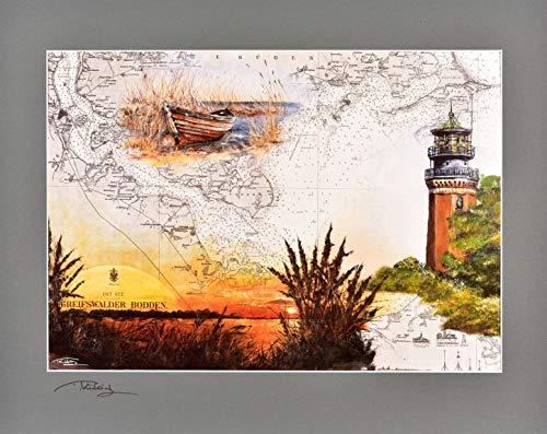 Thomas Kubitz - Stampa con immagine del faro Greifswalder Oie con passepartout originale firmato