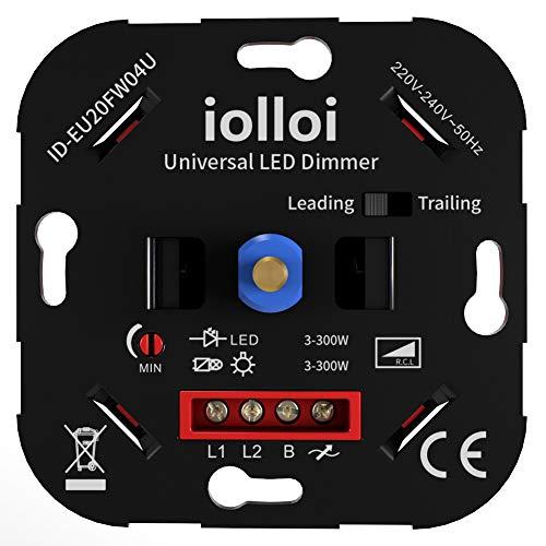 Regulador de intensidad LED 3 – 300 W, con corte de fase y secciones de fase, compatible con Busch Jäger, Gira, Jung, Berker, Kopp