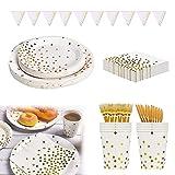 Platos Fiesta,Vajilla Papel Reutilizable Cubiertos Cumpleaños, Platos de papel desechables, Juego de vajilla de fiesta, Vajilla de papel para cumpleaños, Platos de papel desechables