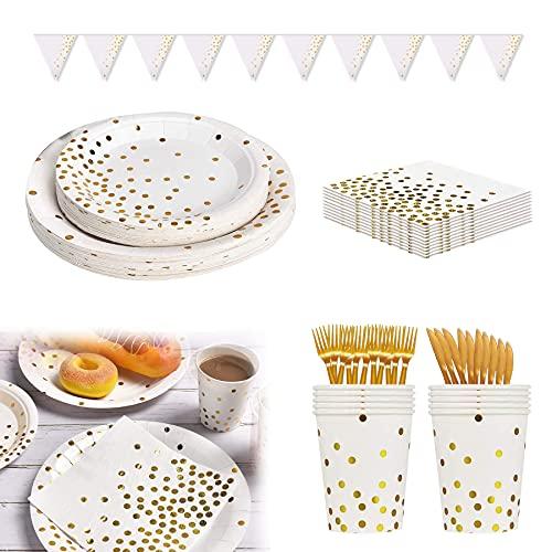 Platos Fiesta,Vajilla Papel Reutilizable Cubiertos Cumpleaños ,Platos de papel desechables, Juego de vajilla de fiesta, Vajilla de papel para cumpleaños, Platos de papel desechables (Blanco-A)