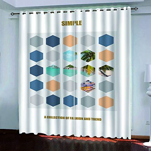 YUNSW Cortinas De Árboles Grandes Digitales 3D, Cortinas Perforadas De Dos Piezas, Cortinas Decorativas para Sala De Estar, Dormitorio, Jardín Y Cocina