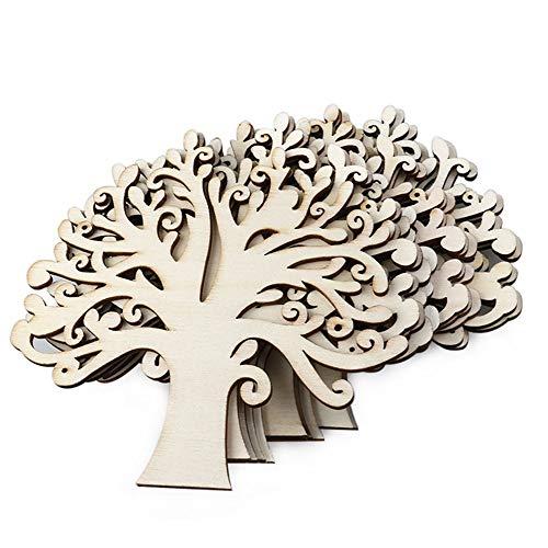 Ogquaton - 10 adornos de madera para árbol de Navidad, 12,5 x 12,5 x 0,3 cm, elegantes y populares