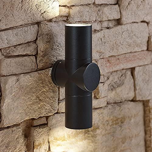 Applique da Esterno Moderno di Forma Cilindrica e Nero - Lampada Circolare Orientabile Verso Il Basso - Alluminio Resistente, Grado di Protezione IP44 Ideale per Giardino, Patio e Porta dIngresso