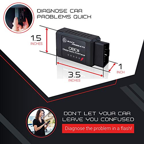 Bafx Products - Wireless Bluetooth OBD2 / OBDII Diagnostic Car Scanner & Reader Tool for Android...