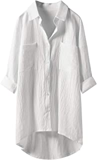 aihihe Womens Boyfriend Button Down Shirts Plus Size Loose Fit 3/4 Sleeve Shirts Cotton Linen Tops Blouses Tunics