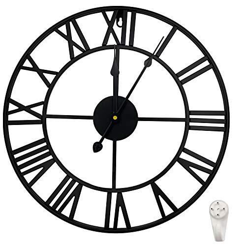 Outpicker Orologio da Parete Grandi 40 cm/16 Pollici Silenzioso Non ticchettio Vintage Orologio Parete in Metallo per Soggiorno, Cucina, Bar (Nero)