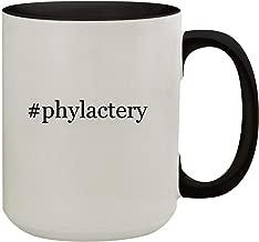 #phylactery - 15oz Hashtag Colored Inner & Handle Ceramic Coffee Mug, Black