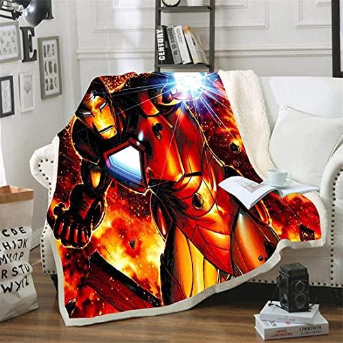 PHUAN Superhéroe Iron Man 3D Imprimir Manta Los Vengadores Marvel Sofá Cama Lanza para Niños Viajes De Adultos Flannel Flanela Tirar Espesar Sherpa Fleece Mantas (Color : 09, Size : 180 * 200cm)