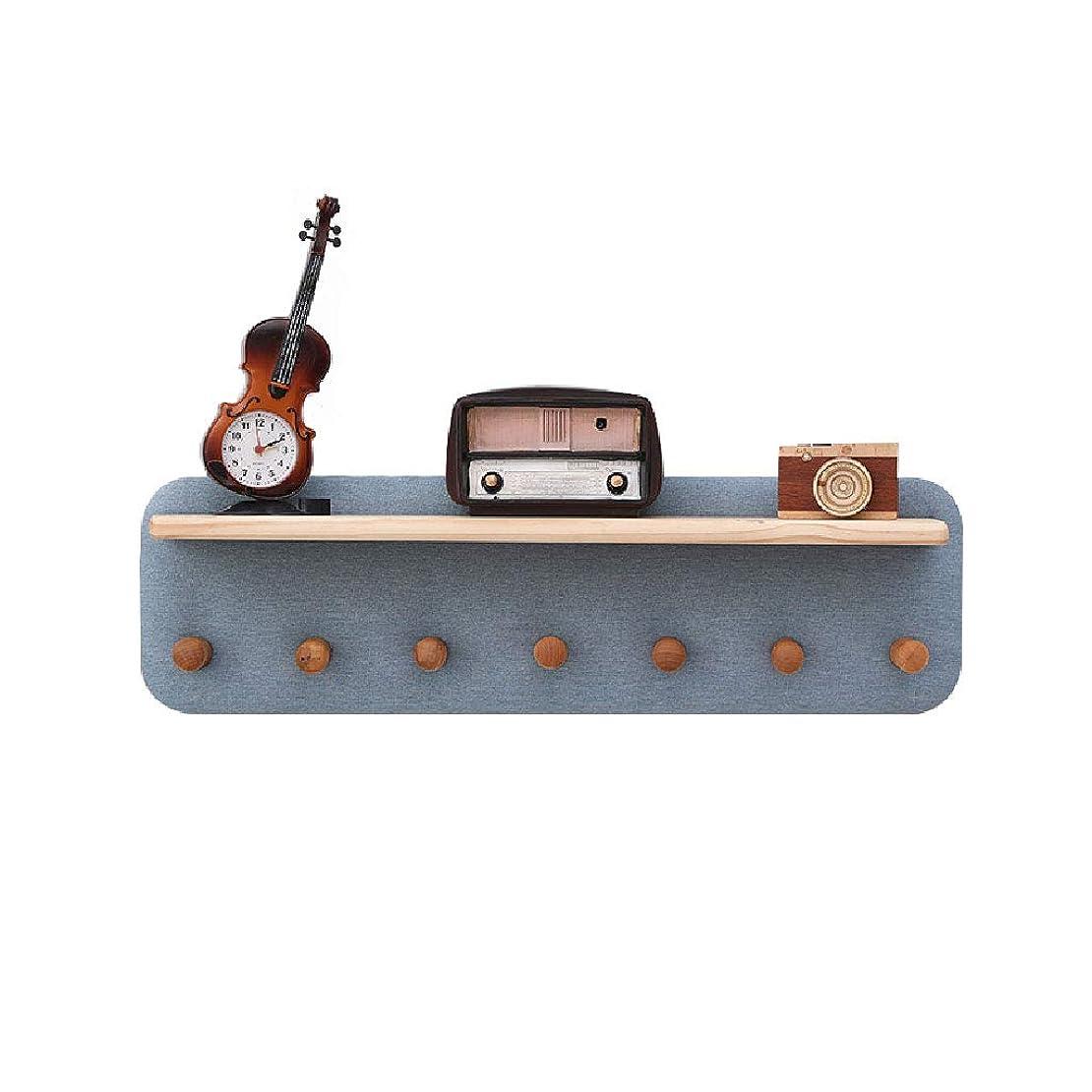 オーケストラ申請中住むウォールハンガー ソリッドウッドコートラックフックアップ壁掛けクリエイティブエントランスベッドルームハンガーシェルフ7フック25 * 70cm LXQGR (Color : Blue)