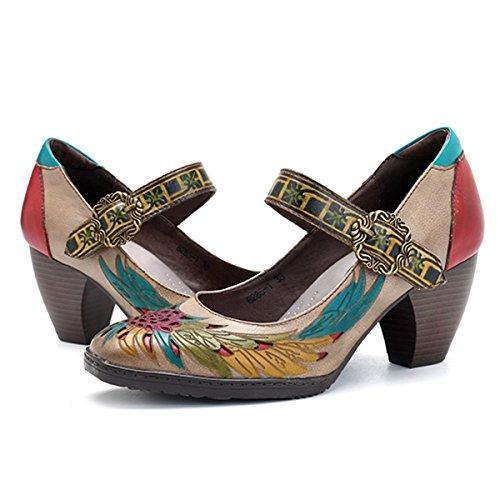 Socofy Cuero Zapatos de tacón Medio, Merceditas Tacónes Fabricados a Mano en Piel Genuina para su Total Confort y Comodidad, Modelo con Cierre de Hebilla con un diseño Elegante y Moderno a la Vez