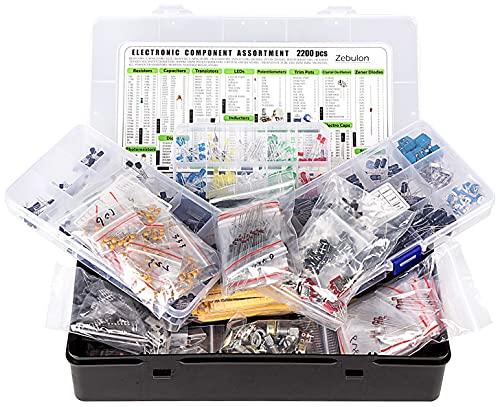 Assortimento di componenti elettronici, condensatori, resistenze, transistor, induttori, diodi, potenziometro, IC, LED, LDR, PCB ecc.