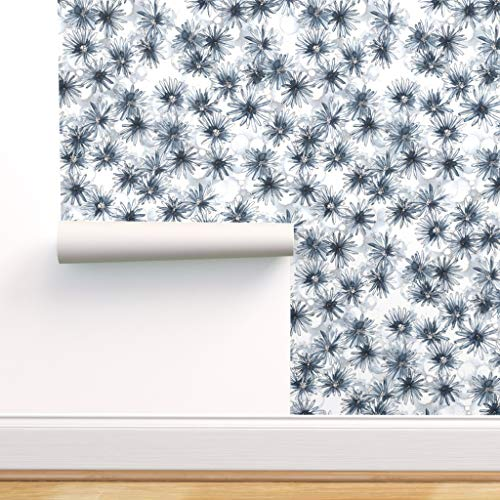 Spoonflower Peel and Stick Removable Wallpaper, Watercolor Flower Flowers Indigo White Navy Blue and Abstract Modern Floral Line Drawing Print, Self-Adhesive Wallpaper 12in x 24in Test Swatch
