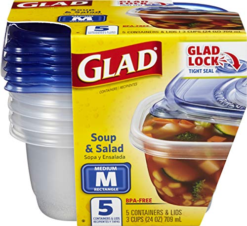 GladWare Soup & Salad Food Storage Containers, Medium Rectangle Holds 24 Ounces of Food, 5 Count Set
