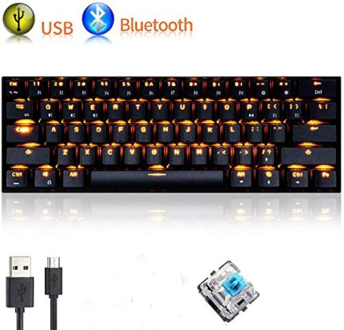 UrChoiceLtd Teclado Mecánico, rk61 con cable/inalámbrico Bluetooth teclado 61 teclas LED BACKLIT USB Quickfire teclas Impermeable Teclado para juegos clave cap extractor batería de litio recargable