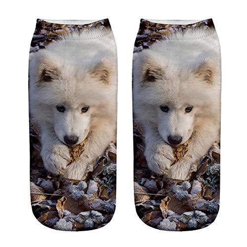 Tosonse Beliebte Lustige Süße Unisexsocken Kurze Socken Damensocken 3D Hundedruck Fußkettchen Lässig