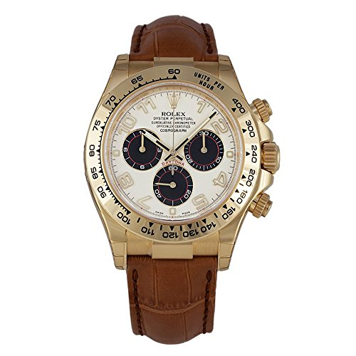 Rolex Daytona Yellow Gold Watch Ivory Dial Black Leather Strap 116518 Box/Pap Unworn 2016