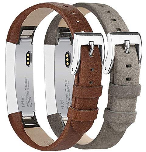 Tobfit Kompatibel mit Fitbit Alta HR Armband, Fitbit Alta Armband Lederarmband Edelstahl Schnalle Ersatzarmbänder für Fitbit Alta und Fitbit Alta HR (Kein Tracker) (Kaffee & Grau)
