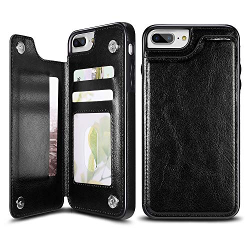 UEEBAI Case for iPhone 5 5S SE, Luxury PU Leather Case with [Two Magnetic Clasp] [Card Slots] Stand Function Durable Shockproof Soft TPU Case Back Wallet Cover for iPhone 5/5S/SE - Black