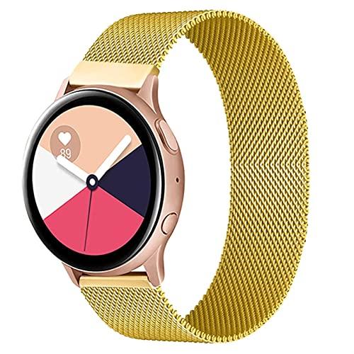 Correa Magnética De 20 Mm 22 Mm Para Samsung Active 2 Gear S3 Pulsera Huaw GT / GT2 / 2e Galaxy Watch 3/4 10688 (Band Color : Gold, Band Width : Active2 40mm 44mm)