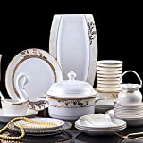 60 cabezas de vajilla de cerámica plato plato de arroz ensalada de fideos placa de tazón placa de cuenco conjuntos de copa de cocina olla de sopa de cenicero conjuntos de vajilla-BLANCO