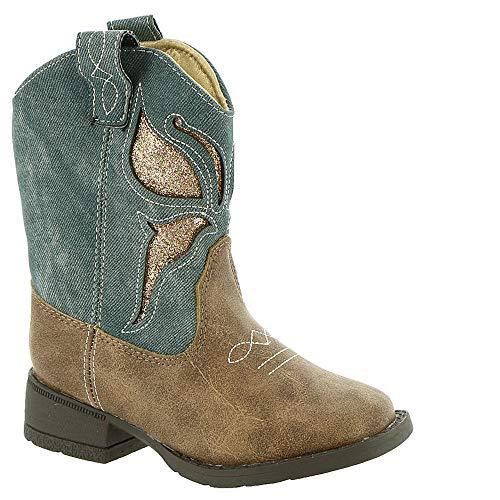 Baby Deer Little Girls Denim Cowboy Boot with Glitter Butterfly, 6