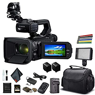 Canon XA55 Professional UHD 4K Camcorder (3668C002) W/Extra Battery, Soft Padded Bag, 64GB Memory Card, LED Light, and More Base Bundle by Canon