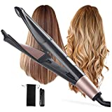 Rizador de pelo Rizador, alisadores de pelo, espiral panel de la calefacción 2 en 1 alisadores de pelo Curling Wand, con doble Tensiones, pantalla LCD y temperatura ajustable, for los tipos todo el pe