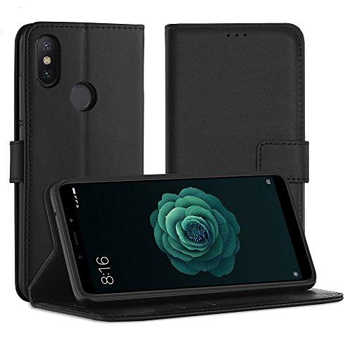 Simpeak Funda para Xiaomi Mi A2/6X (5.99 pulgadas), Funda Libro Xiaomi Mi A2 Carcasa Cuero Xiaomi Mi A2 Soporte Plegable/Ranuras para Tarjetas y Billetes/Acceso a Botones/Cierre Magnético, Negro