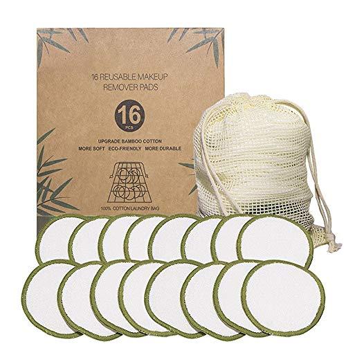 Almohadillas de algodón orgánico Reutilizables, desmaquillantes, Microfibra limpiadora Lavable (Verde)