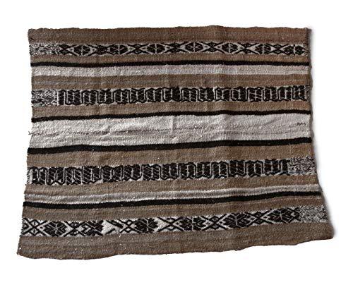 Alfombra de alpaca tejida a mano, fabricada en Perú, 150 x 125 cm, color natural