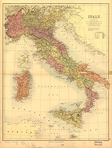 Vintage 1890 Map of Italy. Italy