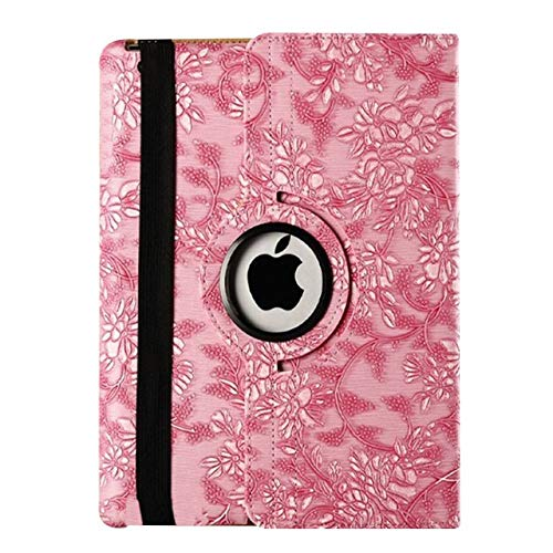 QiuKui Tab Cover For iPad 9.7 2018 2017 5th 6th Generation, 360 Rotating Flower Shockproof Girl Smart Cover for ipad Air 1/2 iPad 9.7+pen (Color : Pink)