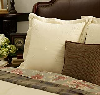 Ralph Lauren Lauren Shetland Manor European Pillow Sham - Embroidered Cream