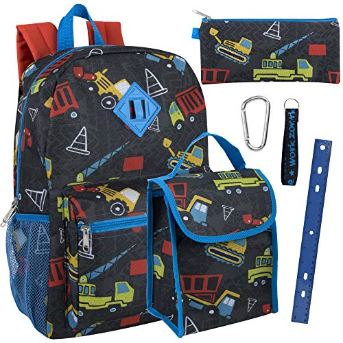 Boy's 6 in 1 Backpack Set with Lunch Bag, Pencil Case, Ruler, Clip, and Wristlet Keychain (Construction)