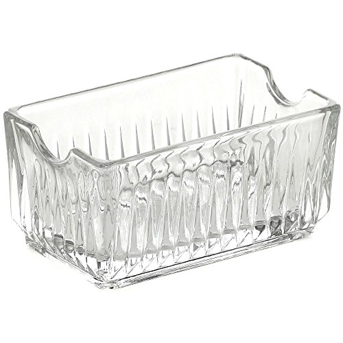 Sugar Packet Holder Clear Ribbed Glass - 4 1/4 L x 3 7/8 W x 2 1/8 H