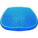 Cojín de gel extra grande doble grueso cojín de asiento con funda antideslizante para aliviar el dolor de espalda, asiento de silla de oficina de casa (18,5 x 16,5 x 1,77 pulgadas)