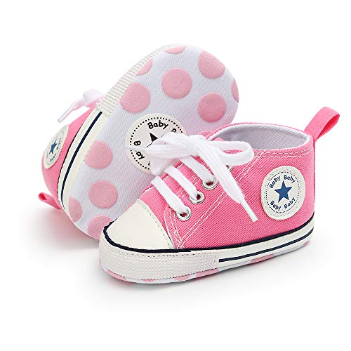 Isbasic Newborn Baby Boy Girl High Top Canvas Sneakers Toddler Non-Slip Soft Sole First Walkers Infant Denim Crib Shoes Pink, 0-6 Months Infant