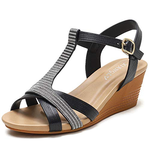 XIANGLV Cuñas Sandalias para mujer Sandalias de tacón alto Pendiente bohemia con zapatos romanos Verano para mujer Tiras de punta cerrada Talla plana Flops (black, 41)