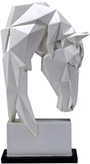 LBYLYH Home Decorations Figurines Gift Nordic Simplicity Geometric White Horse Head Statues Animals Art Sculpture Resin Craft Home Crafts Small