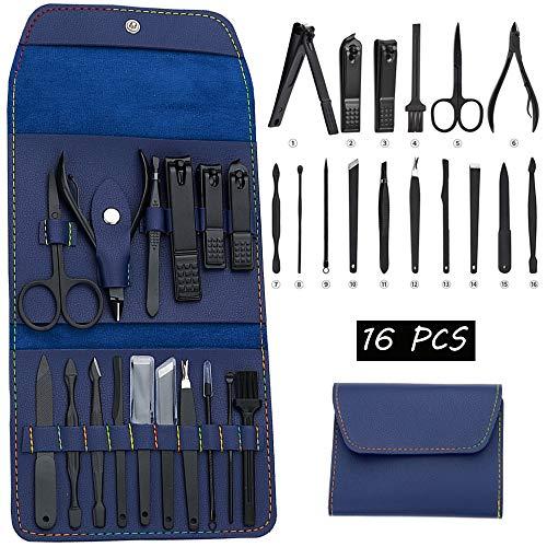16 en 1 Set de Cortaúña Kit Manicura profesional acero inoxidable para Manicura y Pedicura Limpiador Cutícula, con Caja de Cuero